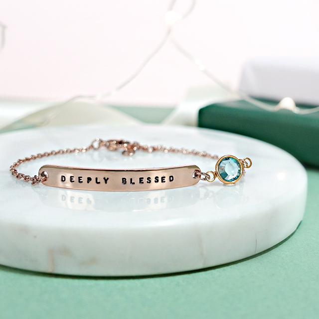 Bar Bracelet with Birthstone (Rose Gold)