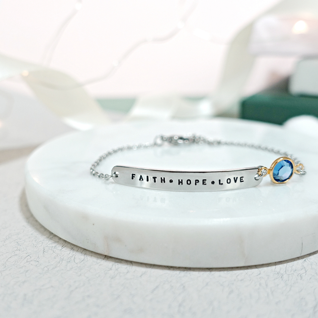 Bar Bracelet with Birthstone (Silver)