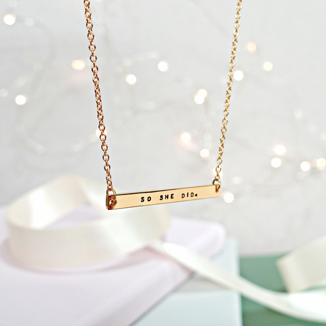 Horizontal Bar Necklace (Gold)