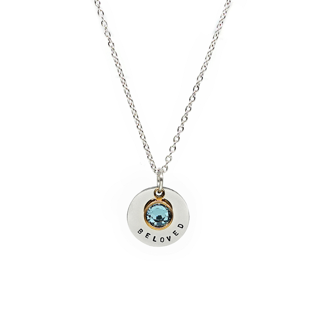 Round Pendant Necklace with Birthstone (Silver)