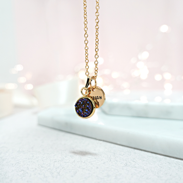 Dainty Druzy Necklace (Amethyst/Gold)