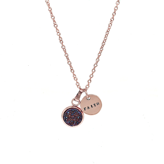 Dainty Druzy Necklace (Amethyst/Rose Gold)