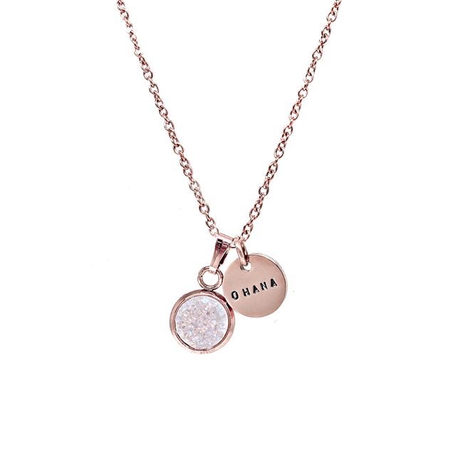 Dainty Druzy Necklace (Pearl/Rose Gold)