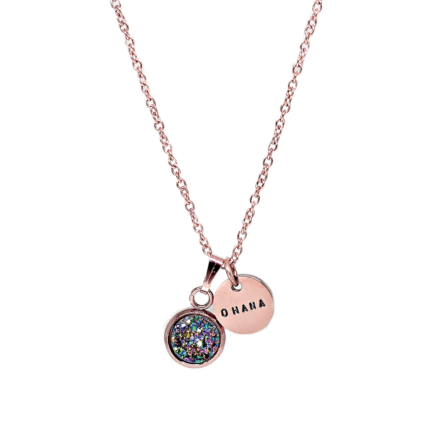 Dainty Druzy Necklace (Rainbow/Rose Gold)