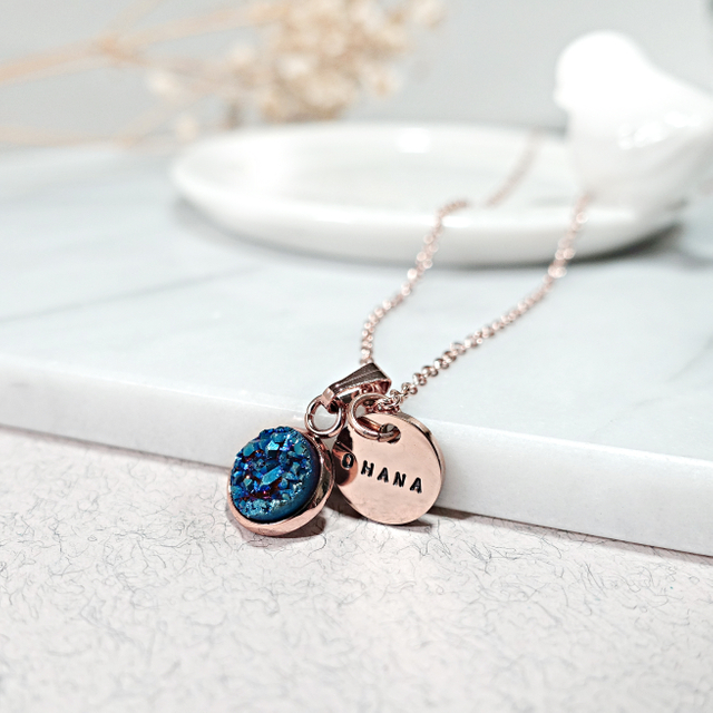 Dainty Druzy Necklace (Blue/Rose Gold)