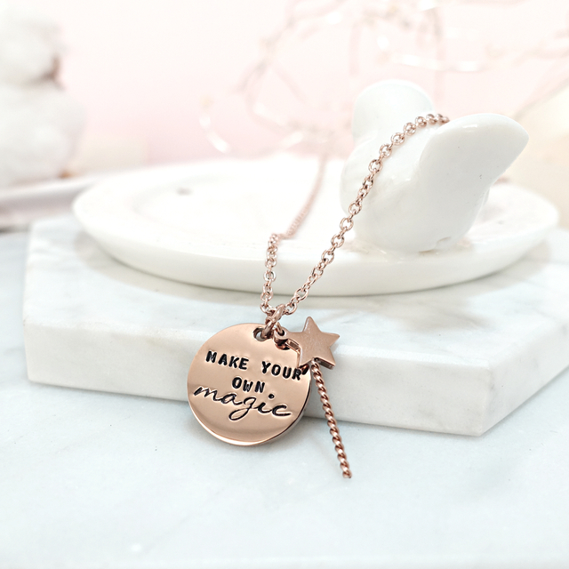 Magic Wand and Round Pendant Necklace (Rose Gold)