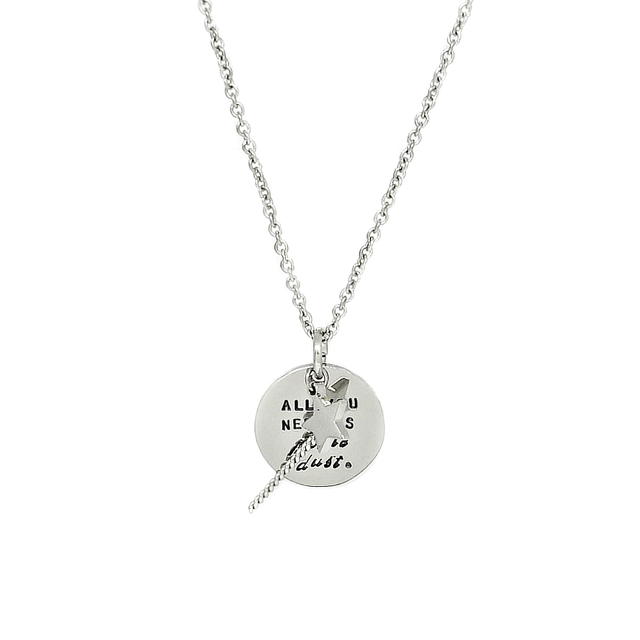 Magic Wand and Round Pendant Necklace (Silver)
