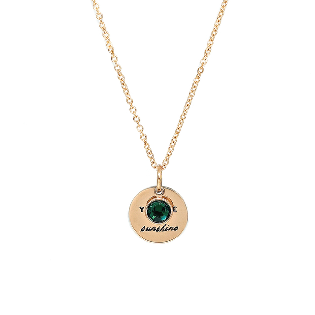 Round Pendant Necklace with Birthstone (Gold)
