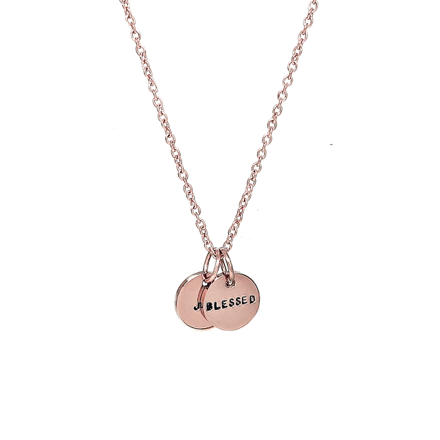 Tiny Duo Round Necklace (Rose Gold)