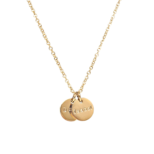 Tiny Duo Round Necklace (Gold)