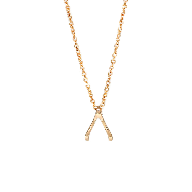 Tiny Wishbone Necklace (Gold)