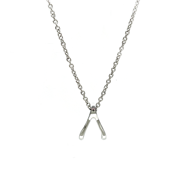Tiny Wishbone Necklace (Silver)