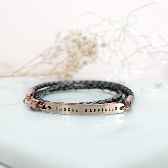 Wrapped Leather Bracelet (Vintage Grey)