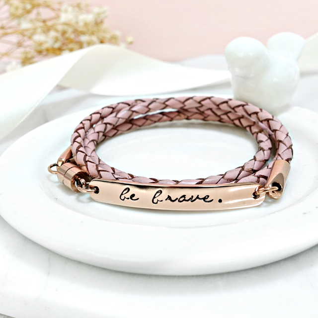 Wrapped  Leather Bracelet (Vintage Pink)