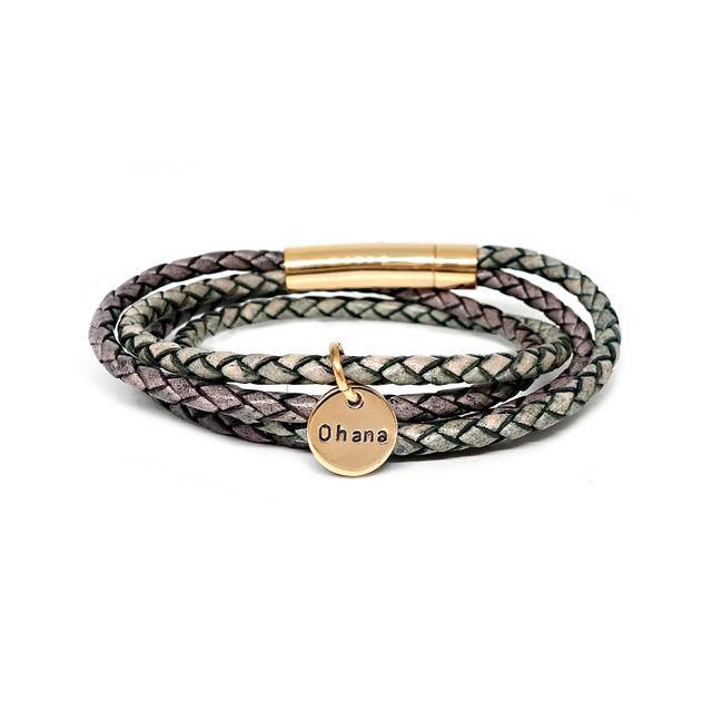 Duo Tone Leather Bracelet (Grey/Green)