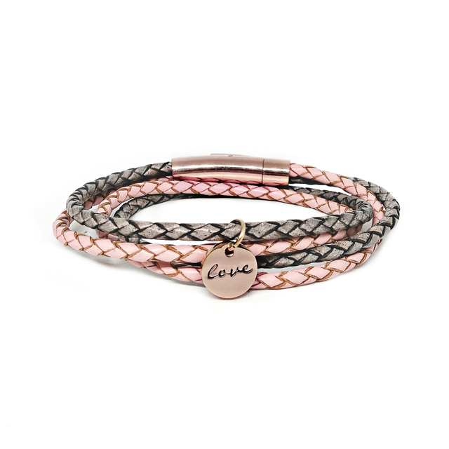 Duo Tone Leather Bracelet (Pink/Grey)