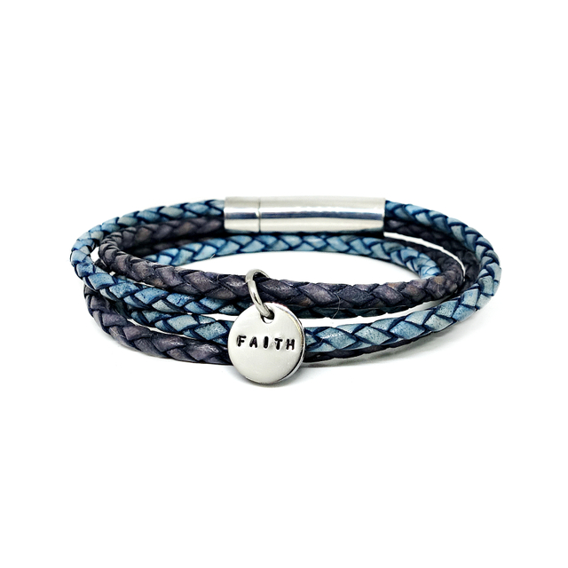 Duo Tone Leather Bracelet (Blue/Pacific)