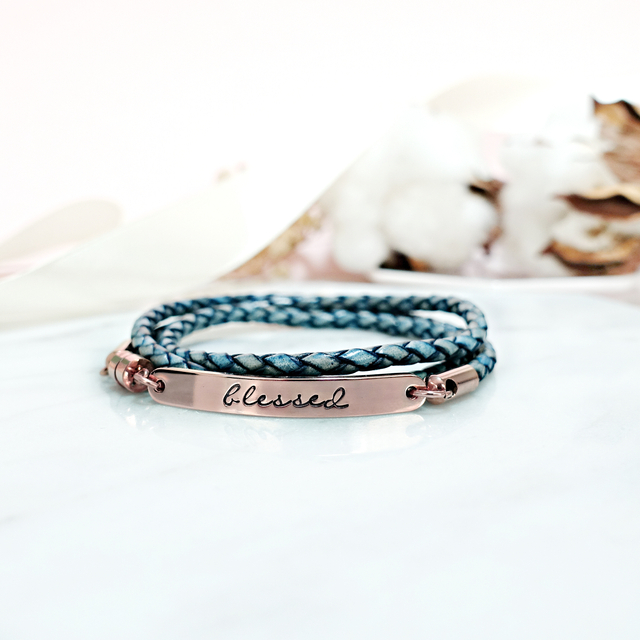 Wrapped Leather Bracelet (Blue)