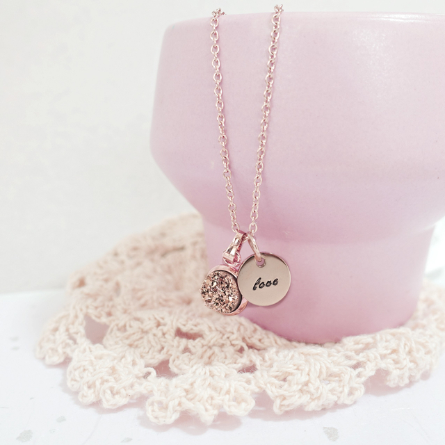 Dainty Druzy Necklace (Champagne/Rose Gold)