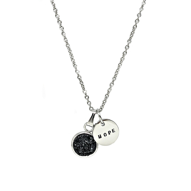 Dainty Druzy Necklace (Black/Silver)
