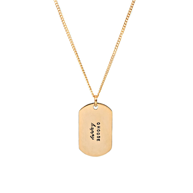 Mini Military Tag Necklace (Gold)