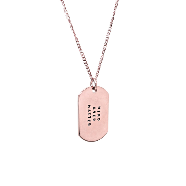 Mini Military Tag Necklace (Rose Gold)