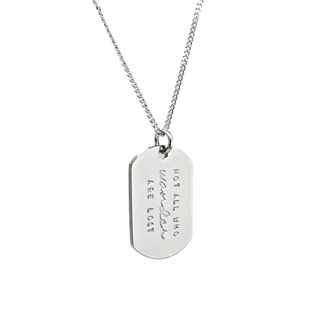 Mini Military Tag Necklace (Silver)