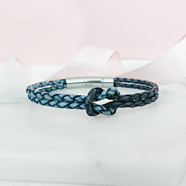 Infinity Knot Leather Bracelet (Blue & Pacific)
