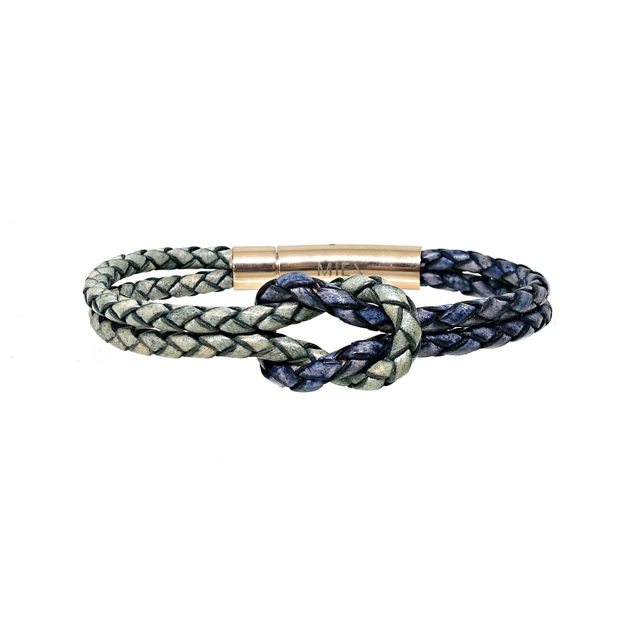 Infinity Knot Leather Bracelet (Green & Pacific)
