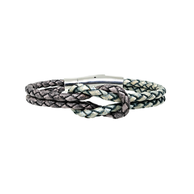 Infinity Knot Leather Bracelet (Green & Grey)