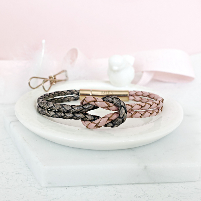 Infinity Knot Leather Bracelet (Pink & Grey)