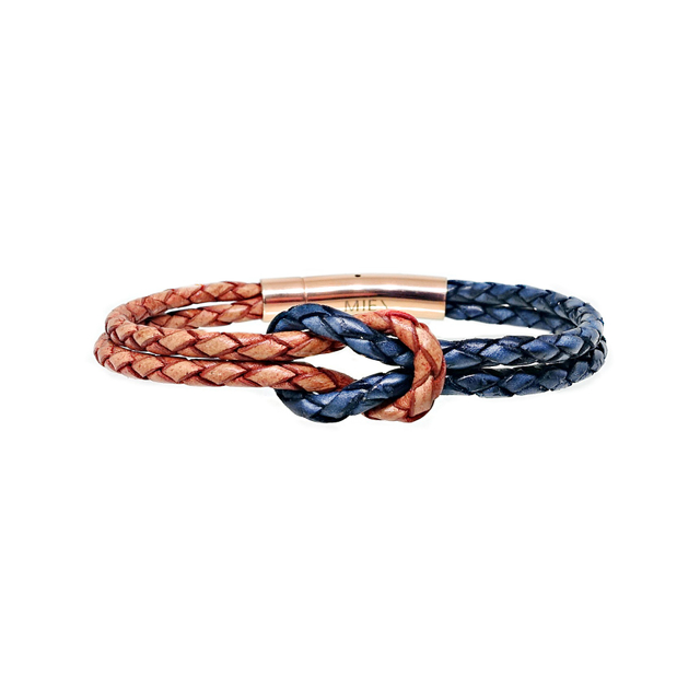 Infinity Knot Leather Bracelet (Tanned & Pacific)