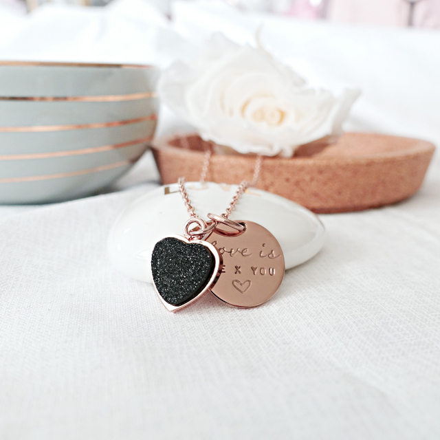 Heart Druzy Necklace (Black/Rose Gold)