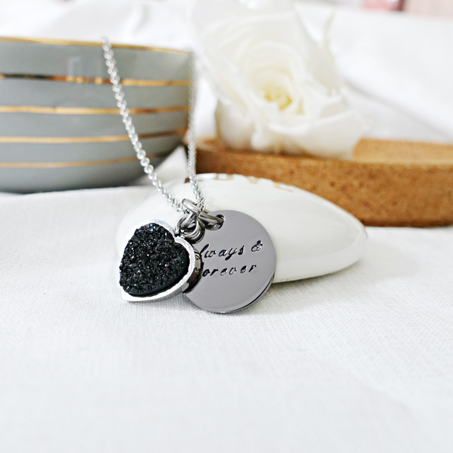 Heart Druzy Necklace (Black/Silver)