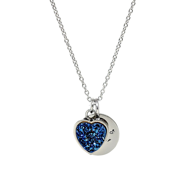 Heart Druzy Necklace (Blue/Silver)