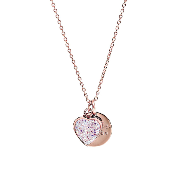Heart Druzy Necklace (Pearl/Rose Gold)