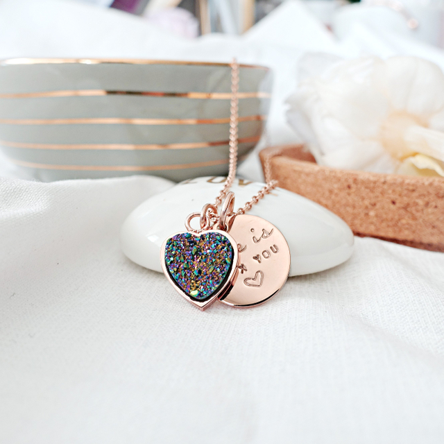 Heart Druzy Necklace (Rainbow/Rose Gold)