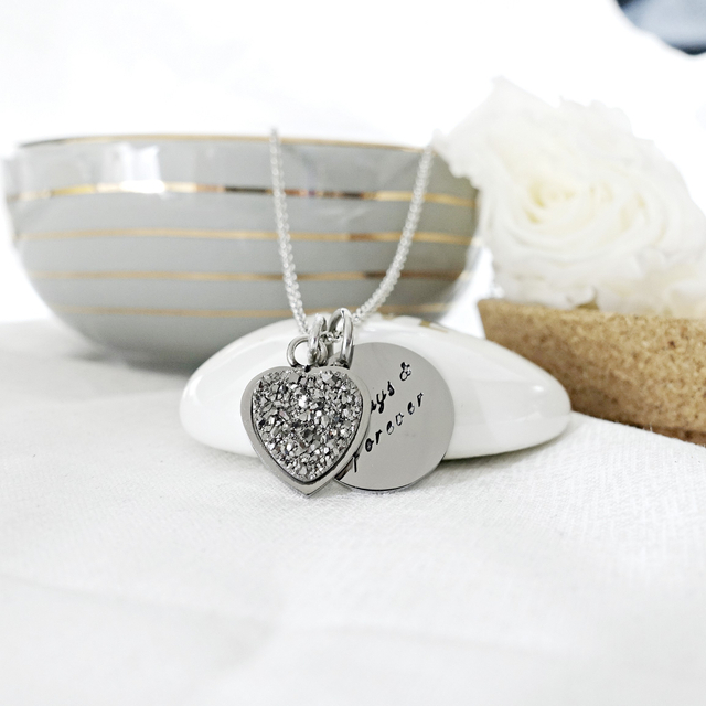 Heart Druzy Necklace (Silver/Silver)