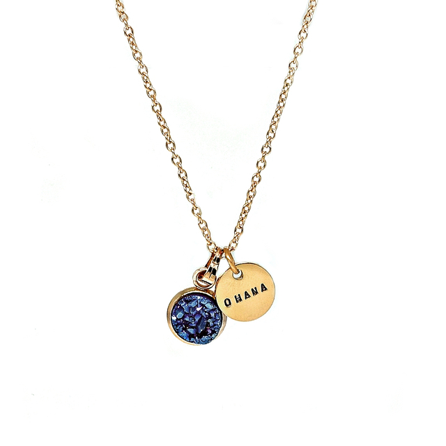 Dainty Druzy Necklace (Blue/Gold)