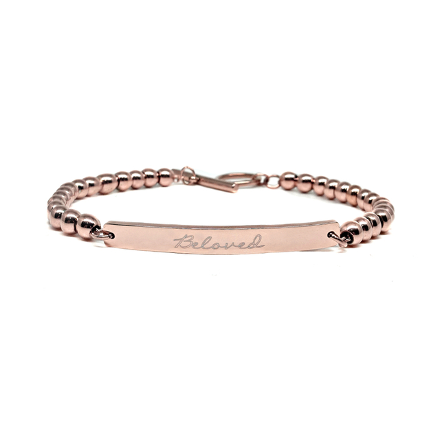 Dainty Bar Beaded Bracelet (Rose Gold)