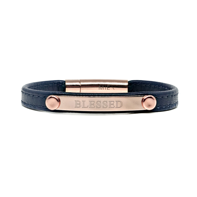 Reminder Leather Bracelet (Navy Blue)