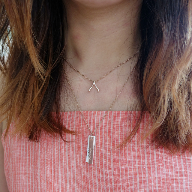 Vertical Marble Necklace (Rose Gold)