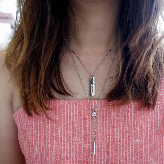 Vertical Marble Necklace (Silver)