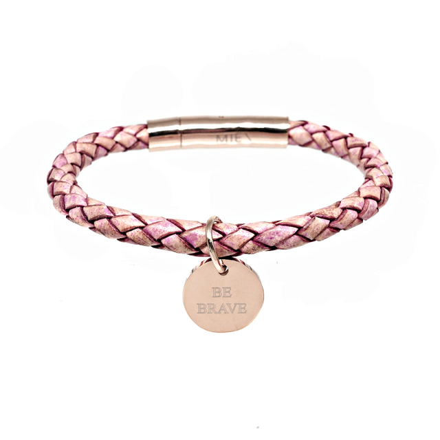Braided Leather Bracelet (Rose)