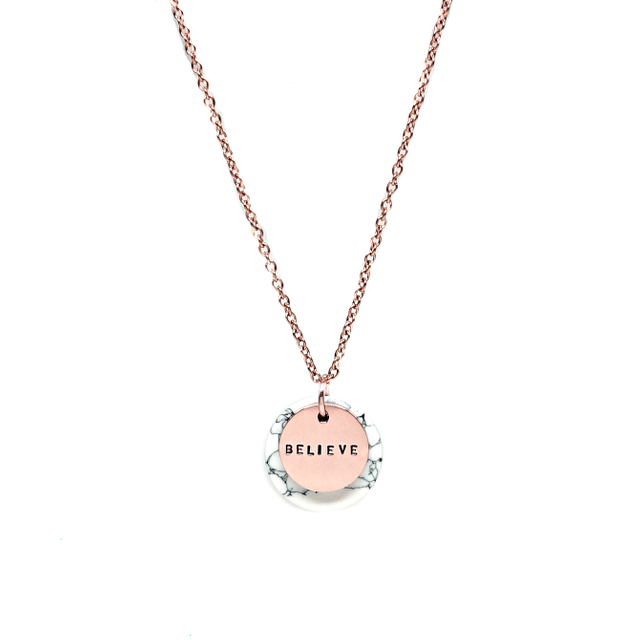 Minie Marble Necklace (Rose Gold)