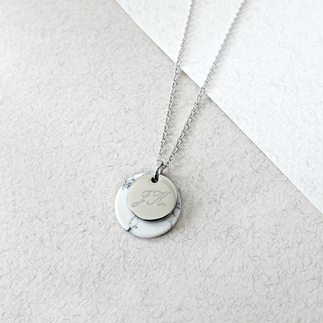 Minie Marble Necklace (Silver)