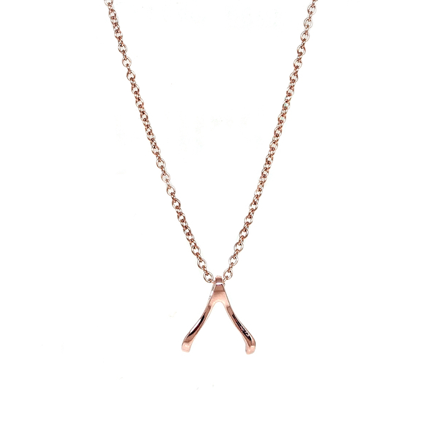 Tiny Wishbone Necklace (Rose Gold)