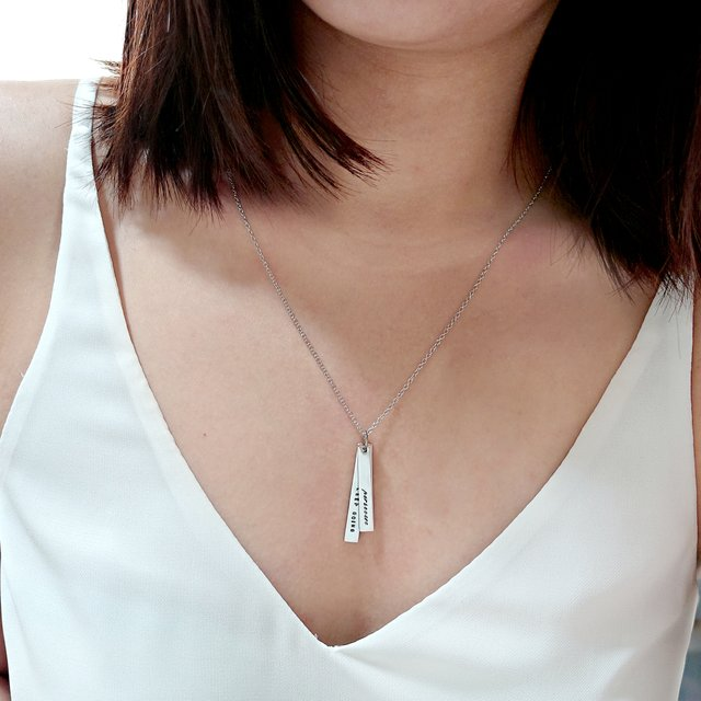 Vertical Duo Bar Necklace (Silver)