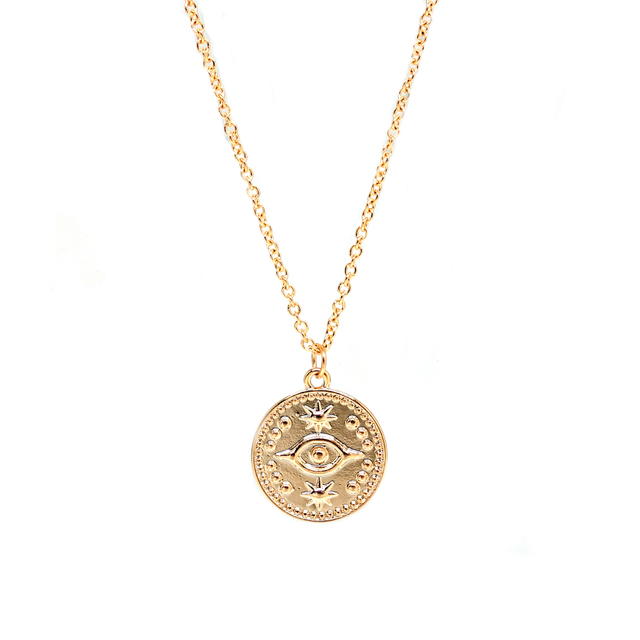 Vintage Eye Round Coin Necklace