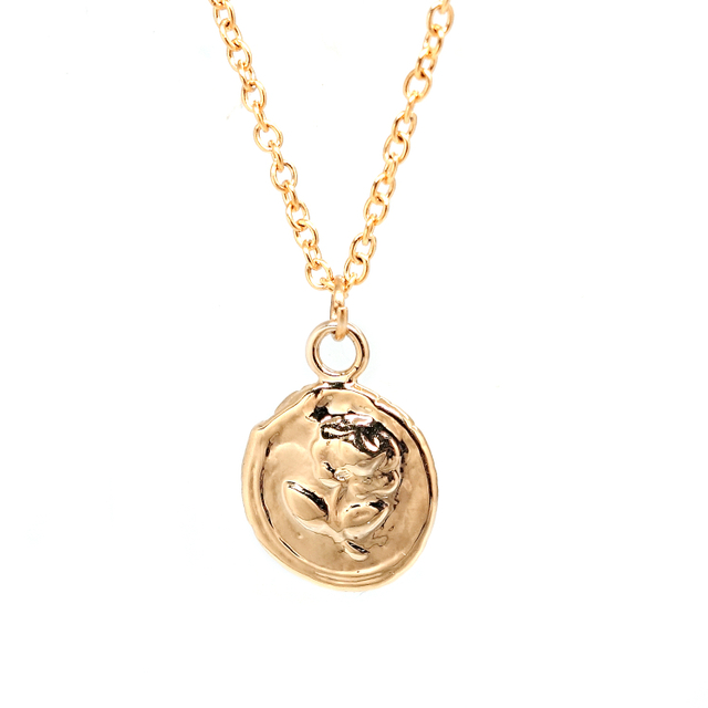 Vintage Rose Wax Coin Necklace